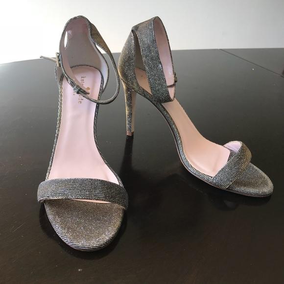 77e9f116faee Gold   Gray Glitter Fabric Kate Spade 7.5B Sandal